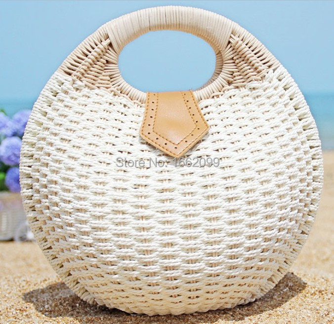 2015 new arrived new fashion handbag rural straw hobo bag cane makes up bag shell bag woven seaside&beach lovely leisure bag(China (Mainland))