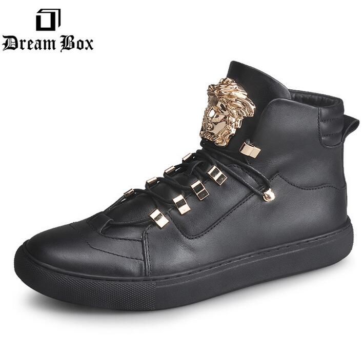 Здесь можно купить  Brand mens fashion leather rivet skull winter plus velvet warm shoes leather lace up high fashion men for leather casual shoes  Обувь