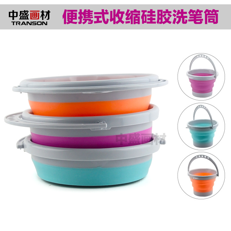 Transon foldable Brush Washer with handle, Plastic brush washer. water pot, blue, red, orange color .Wholesale<br><br>Aliexpress