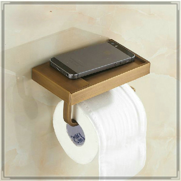 Wall mounted antique brass finish bathroom accessories for Bathroom accessories toilet roll holder