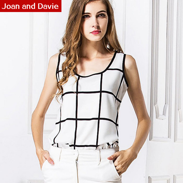 2015 New Sleeveless Summer Chiffon Shirt Black White Plaid Linen Loose Vest Feminine Blouses Plus Size - Joan and Davie store