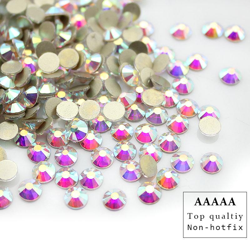 Top qualtiy AAAAA shiny SS3-SS40 Crystal AB flatback rhinestone Iron non- Hotfix glue on Strass Shiny More Bright(China (Mainland))