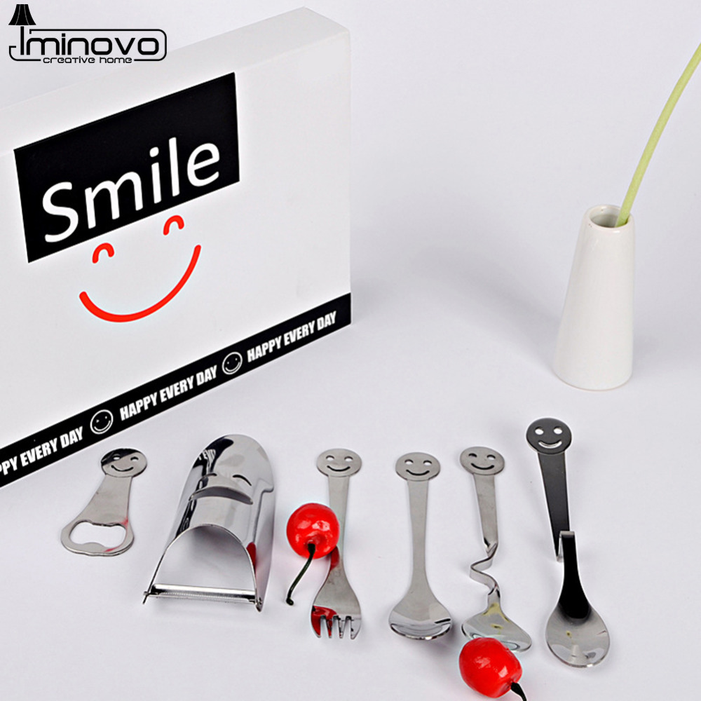 IMINOVO Dinnerware Sets Tableware Stainless Steel Fork Spoon Set Luxury Gift Boxes Smile Portable Cutlery Sets For School Bento(China (Mainland))