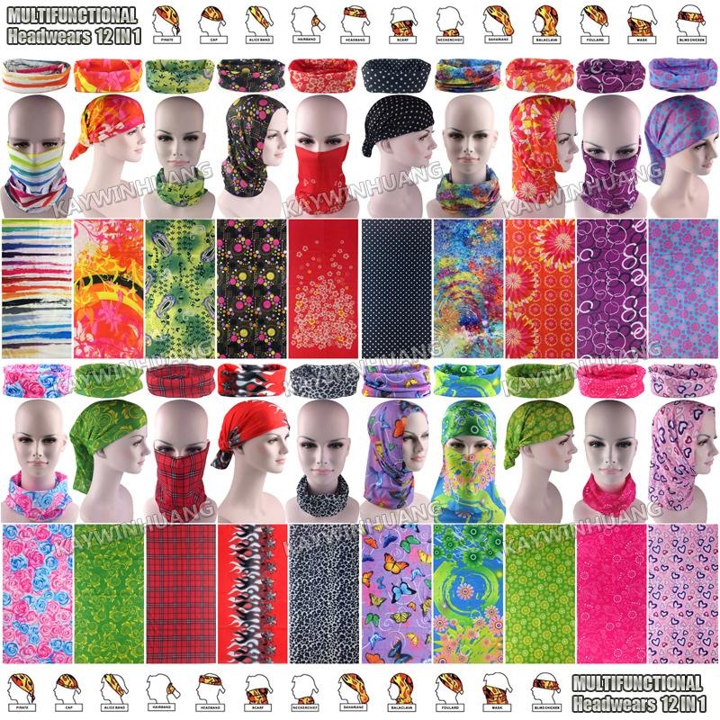 12pc/lot (Mixed) Newest Nice Trendy Women Designs UV Protection Microfiber Outdoor Bandana Multifunctional Tube Sport Headbands(China (Mainland))