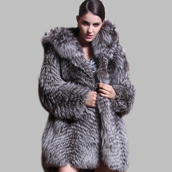 Thick Warm Genuine Fox Fur Overcoat Coats with Fur Hood Natural Fur Coat with Fur Hat Gift BF-C0061(China (Mainland))