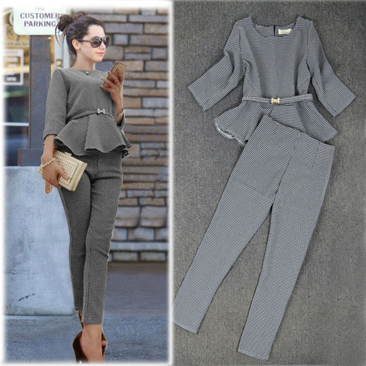 New 2015 Spring Fashion Women's Business Pants Suits Houndstooth Checker Pattern Ruffles Coat Suits For Women!Free Shipping!(China (Mainland))