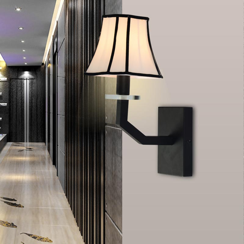 Black Wall Lamp Bedroom Stair Sconce Crystal Wall Sconces Iron White Fabric Lampshade Indoor Home Lighting E14 AC110-240V(China (Mainland))