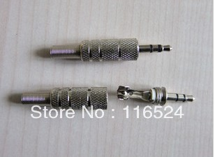 High-quality audio plug (silver) 3.5 3.5 pairs of channel stereo audio plug connector(Hong Kong)