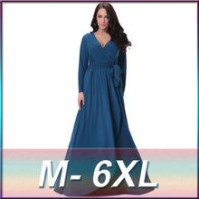 High-end plus size 2016 new European style simple and stylish comfort irregular put on a large long-sleeved dress