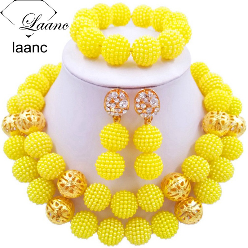 01-African Simulated Pearl Beads Jewelry Set Singe Color (10)
