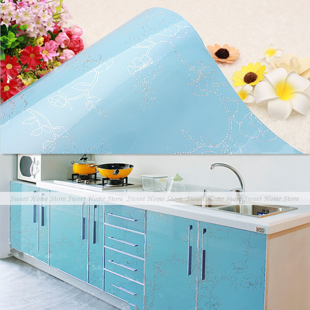 Gloss sky blue peony flower pvc sticky kitchen cupboard for 50cm kitchen cabinets