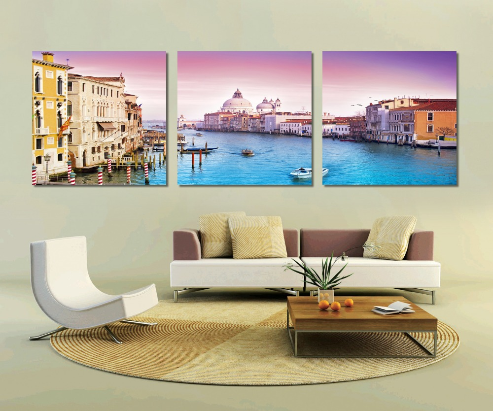 Free Shipping 3 Panel Wall Art old city in our heart very beautiful old building Pictures On the Wall Home Decor Modern Picture(China (Mainland))