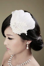 Feather headdress bride lace crystal diamond bridal wedding hair accessories wedding camera head flower jewelry ballroom singer