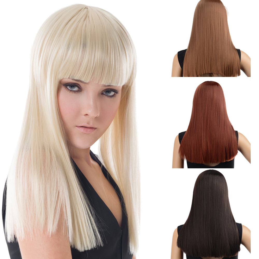 Dayiss Brand New Wig Fashion Wholesaler Gorgeous Lady 47cm Long Straight Smooth Synthetic Hair Full Wigs Neat Bang Party Show<br><br>Aliexpress