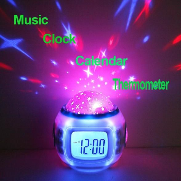 Relogio De Mesa Music Starry Star Sky Projection Alarm Clock Calendar Thermometer Desktop LED Table Clocks Despertador(China (Mainland))