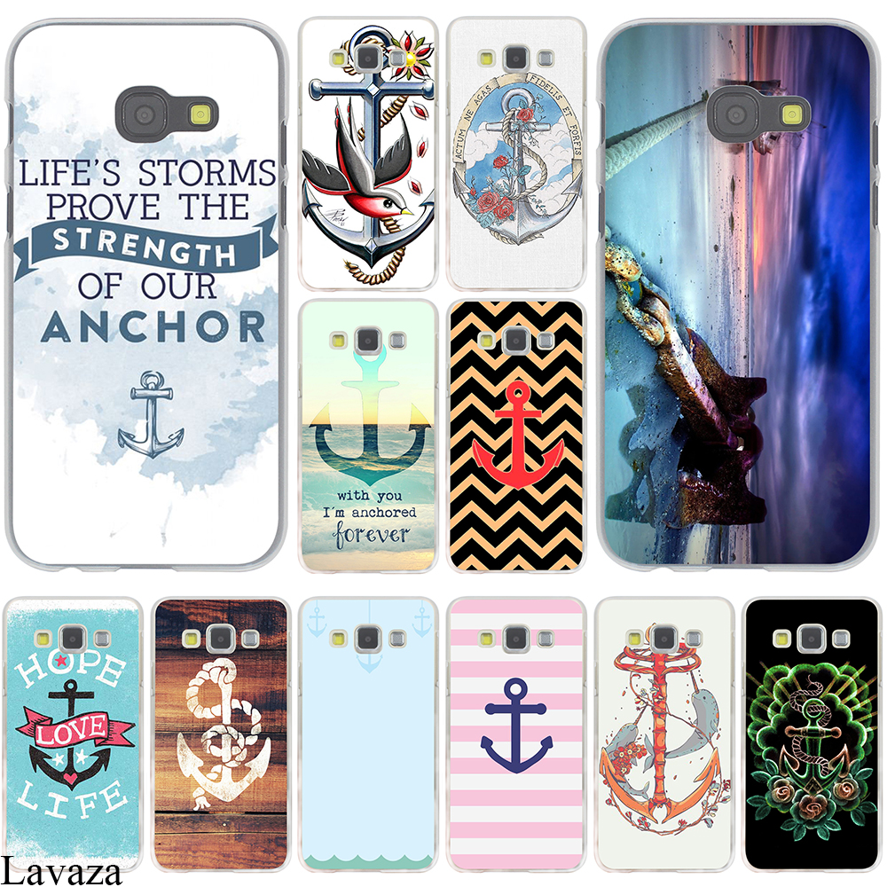 Vintage Nautical Anchor White on Brown Wood Grain Hard Case Cover for Galaxy A3 A5 J5 (2015/2016/2017) & J3 J5 Prime A7 J7(China (Mainland))