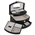 ROWLING Fashion Jewelry Boxes Jewellery Rings Necklace Display Case Organizer Faux Leather Glass Storage Box
