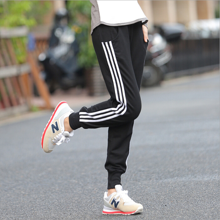 3color freeshipping Casual Autumn running pants women training cotton sport pants 3 stripes Leggings Gym Athletic Sweatpant(China (Mainland))