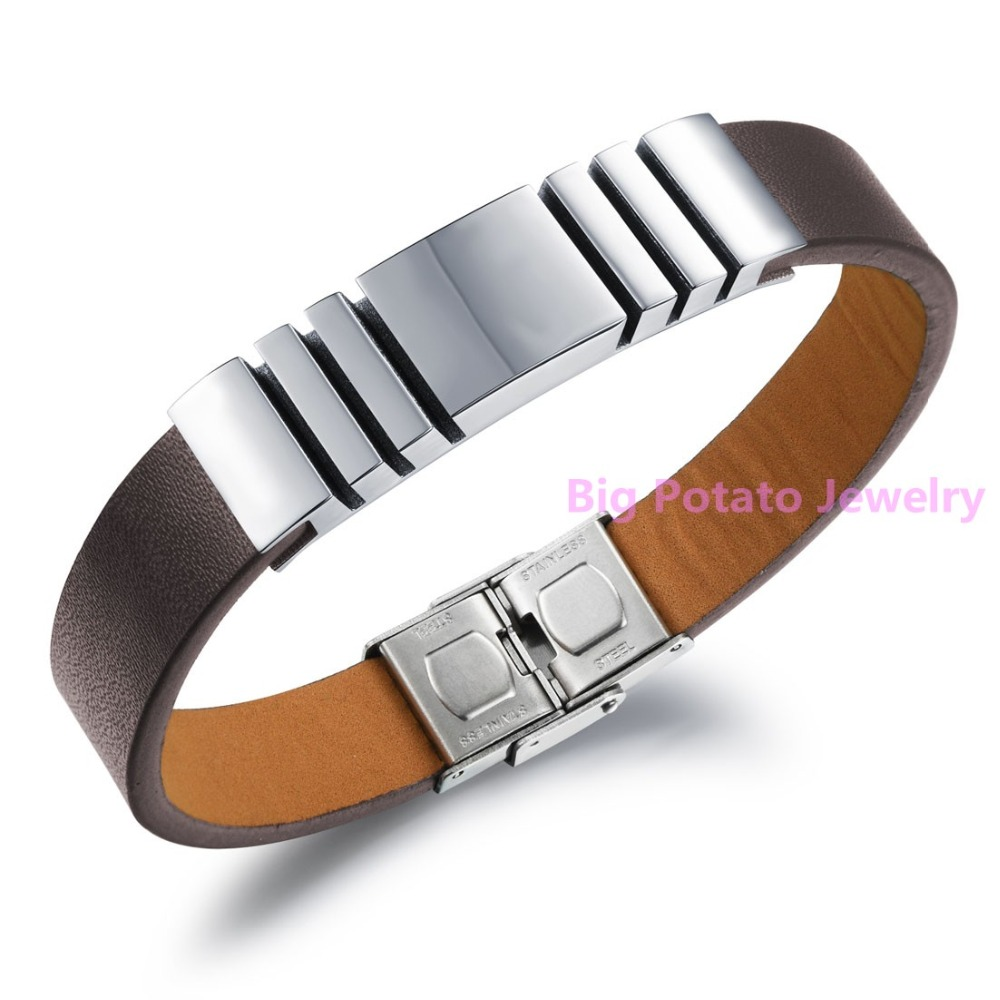 "8.26""*12mm 316L Stainless Steel Brown PU Leather Punk Wristband Jewelry Confidence Men's Bangle Bracelet High Quality Low Price(China (Mainland))"