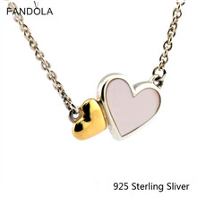 Pendants Compatible With European Jewelry 100% 925 Sterling Silver Luminous Hearts Collier 14K Gold Original DIY Charm Wholesale(China (Mainland))