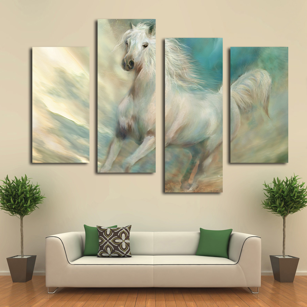 Beautiful Bedroom Expressions Coupons : Aliexpress.com : Buy Beautiful white horse canvas art prints modern ...