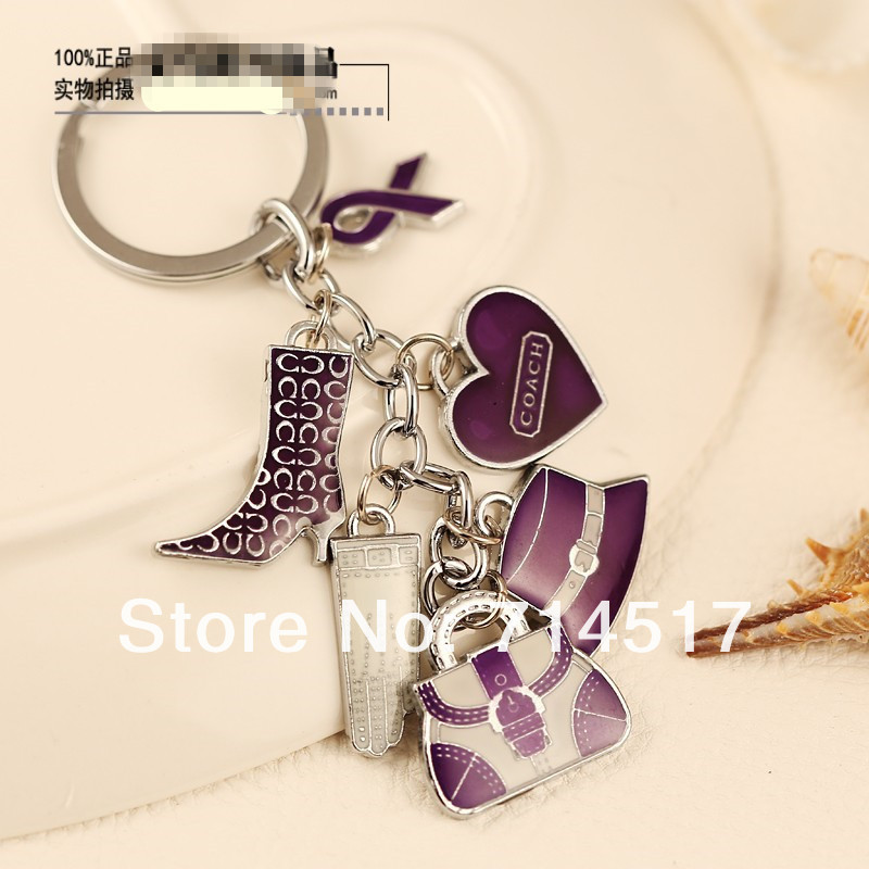 Free shipping Exquisite women's keychain car key ring pendant ,purple(China (Mainland))