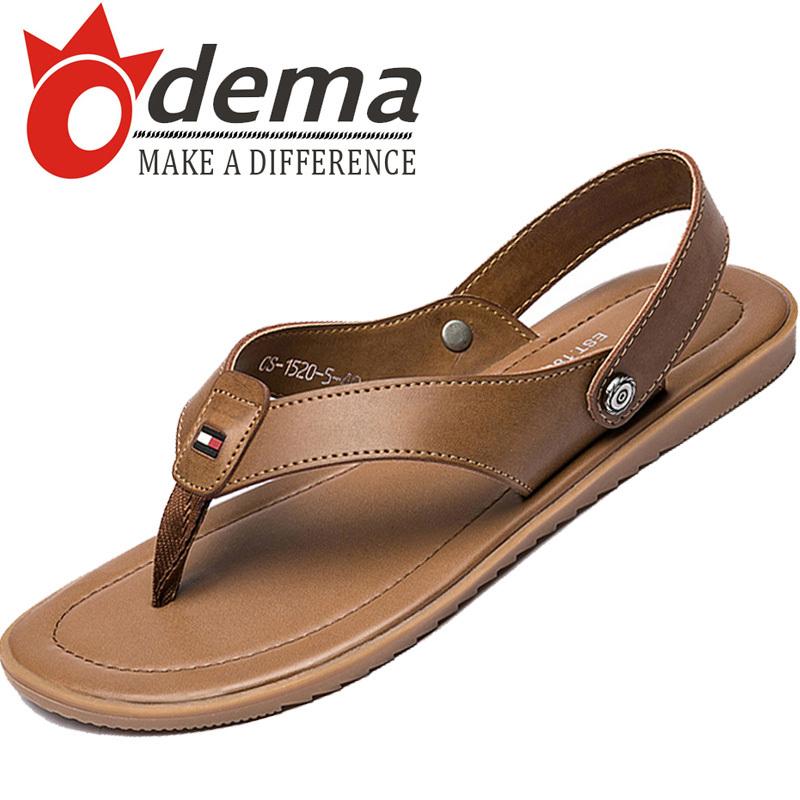 New Arrival Casual Rome Men Shoes Top Leather Flats Sandals Solid Color Men's Slides Flip Flops(China (Mainland))