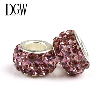 DGW 6 color Crystal Bead Charm European Beads Fit Women Pandora Bracelet & Bangle DIY jewelry