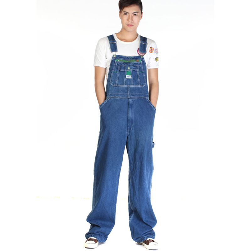 Men's casual loose green zipper bib overalls Male plus large size denim jumpsuits Huge pants Free shipping(China (Mainland))