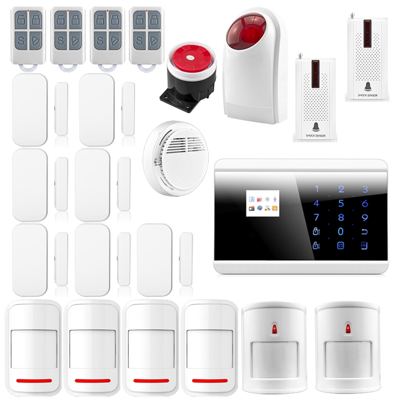 Android IOS APP 433Mhz Sensors Dual-network GSM PSTN Alarm SystemLCD Smart Dislay Touch Keypad Home Burglar Security Alarm 8218G(China (Mainland))