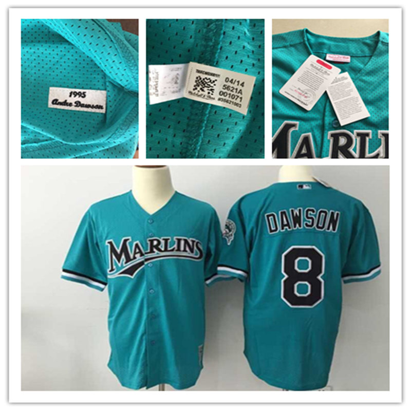 Men's Florida Marlins Throwback VINTAGE Baseball jersey #8 Andre Dawson Pullover Mesh BP Teal Green Jersey(China (Mainland))