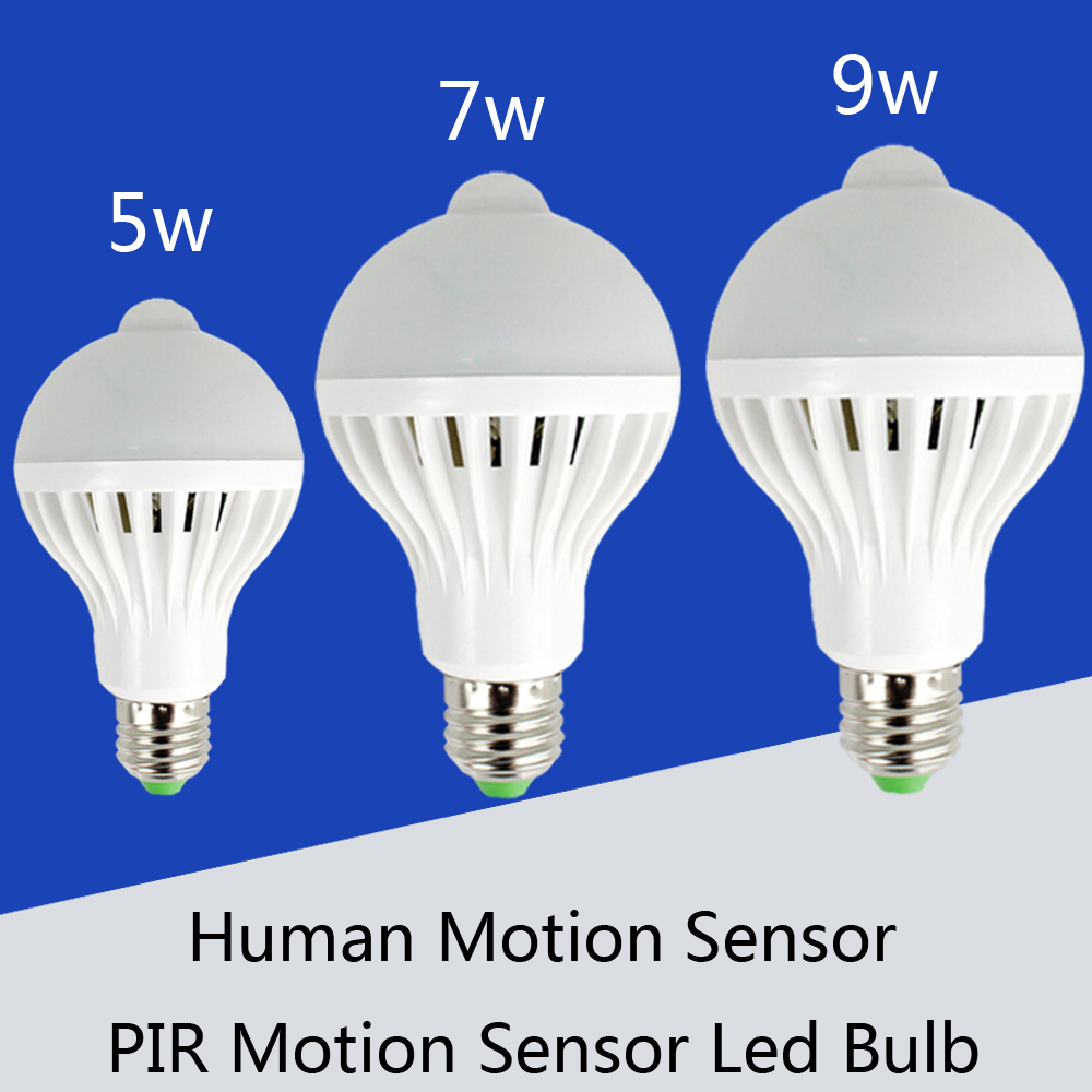 PIR Motion Sensor Lamp E27 220V Led Bulb 5W 7W 9W SMD 5730 automatic Smart Detection Led Infrared Body Light Sensor White light(China (Mainland))
