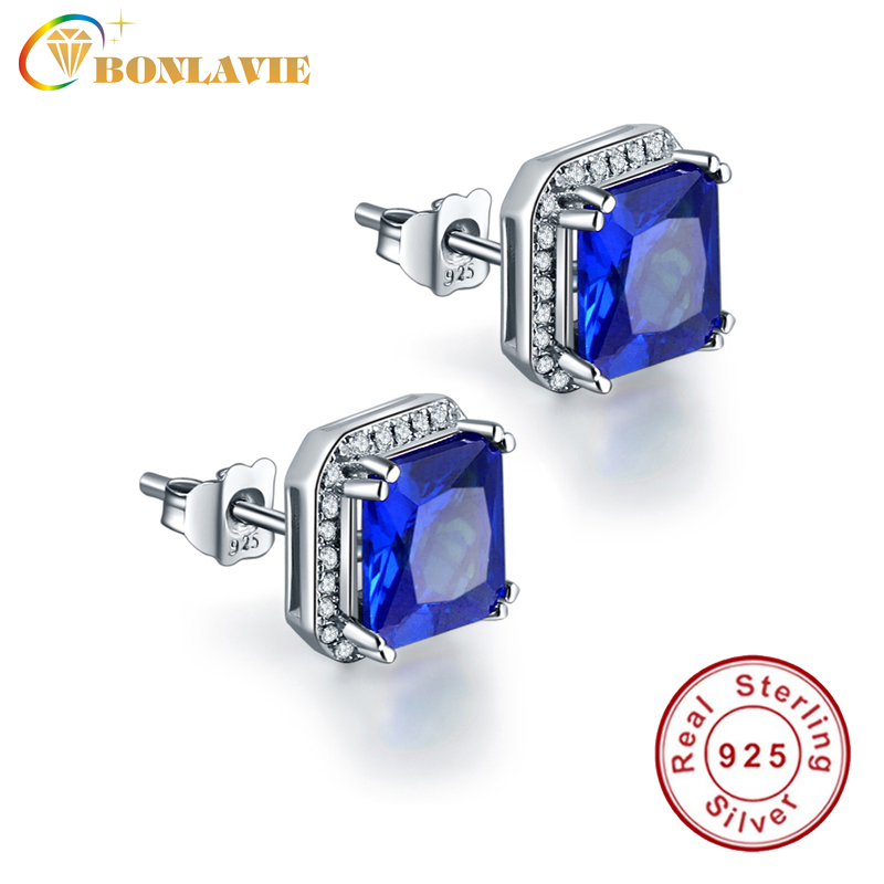 3.8ct Blue Square Sapphire Earrings Stud Solid 925 Sterling Silver Princess Cut Earrings Brincos Hot Sale Jewelry Gift For Women(China (Mainland))
