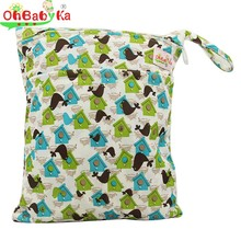 OhBabyKa Baby Diaper Bag Mummy Portable Baby Nappy Bags Waterproof Reusable Diaper Backpack Double Pocket Wet Bag With Zippered(China (Mainland))