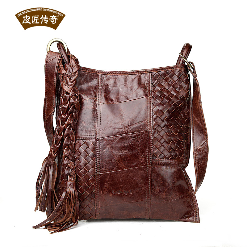 Popular Young Lady Tassel Bag Genuine Leather Woven Messenger Bag 803087<br><br>Aliexpress