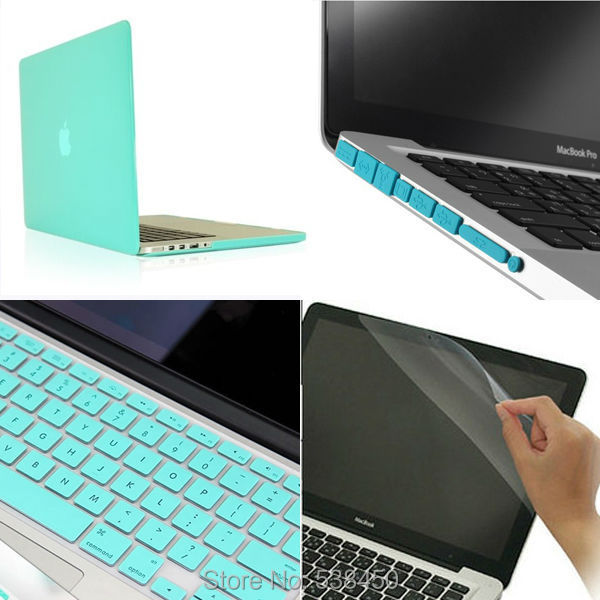 Free Shipping 15 colors 4in1 Matte Hard Case Cover Keyboard Cover Film Plug Set For Macbook
