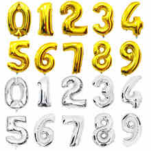 32 inches Gold Silver Number Foil Balloons Digit Helium Ballons Birthday Decorations Wedding Air Baloons Event Party Supplies(China (Mainland))