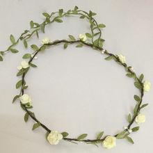 1pcs  Bohemian Style Wreath Flower Crown Wedding Garland Forehead Hair Head Band Beach Wreath(China (Mainland))