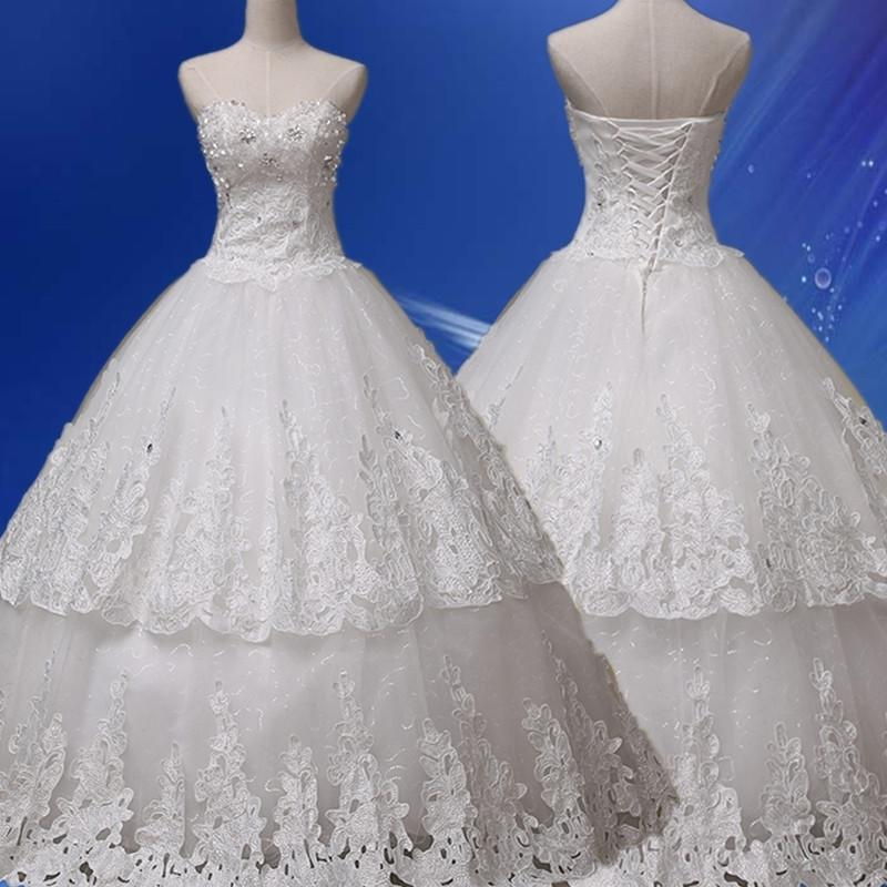 Милая Аппликация узелок Бальное платье Очаровательная Кнопка Кружева Свадебное Платье 2016