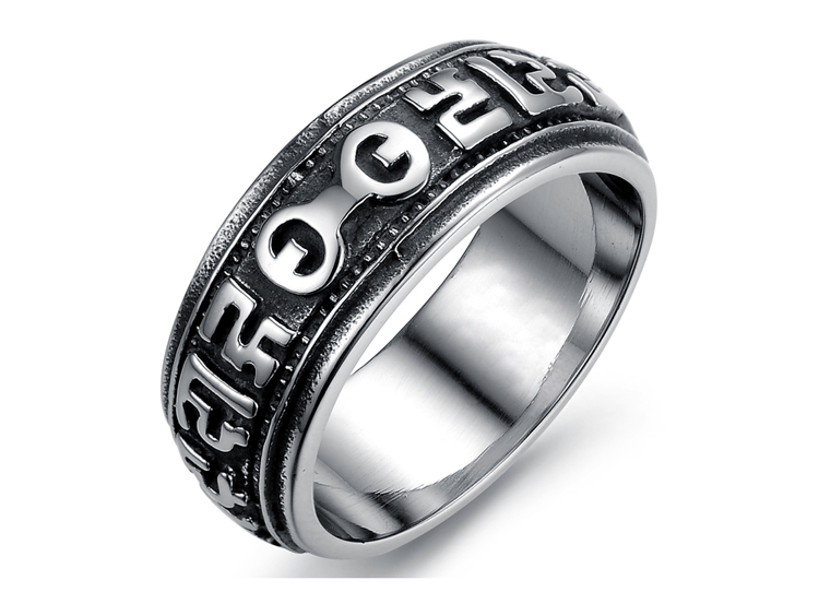 Vintage Design Stainless Steel Man Band Ring Fashion Black Punk Rock Party Men Jewelry For Personalized Man(China (Mainland))