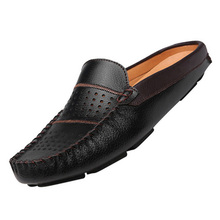 New British Fashion Man Leather Flats Half Slipper Loafers EU 38-44 Summer Men Driving Shoes Black / Dark Blue / White(China (Mainland))