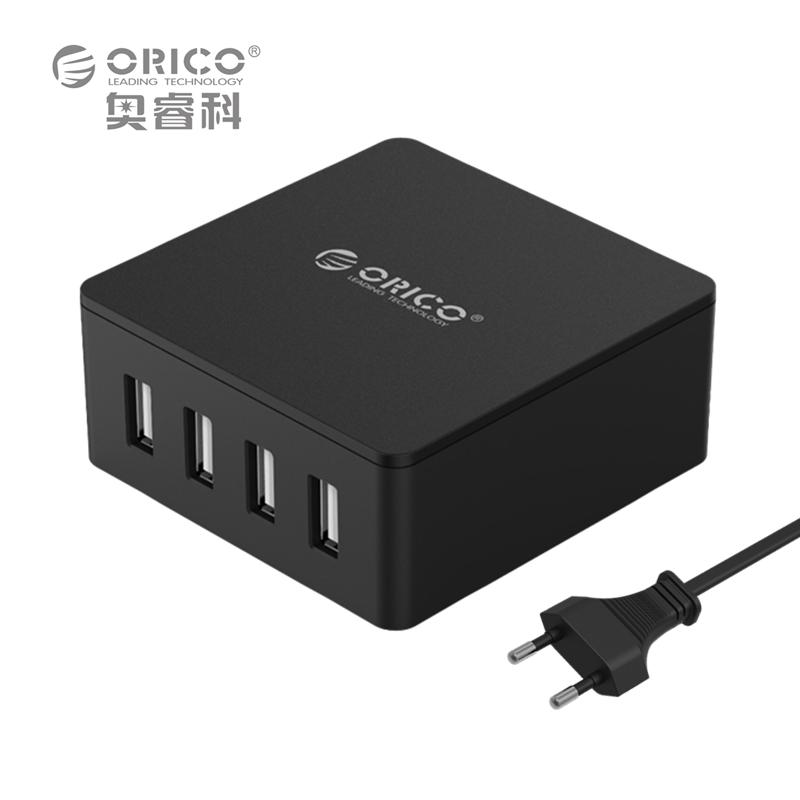 ORICO CSK-4U ABS 4 Ports EU US UK Plug Smart Phone Super Charger 5V6.0A30W Output - Black/White(China (Mainland))