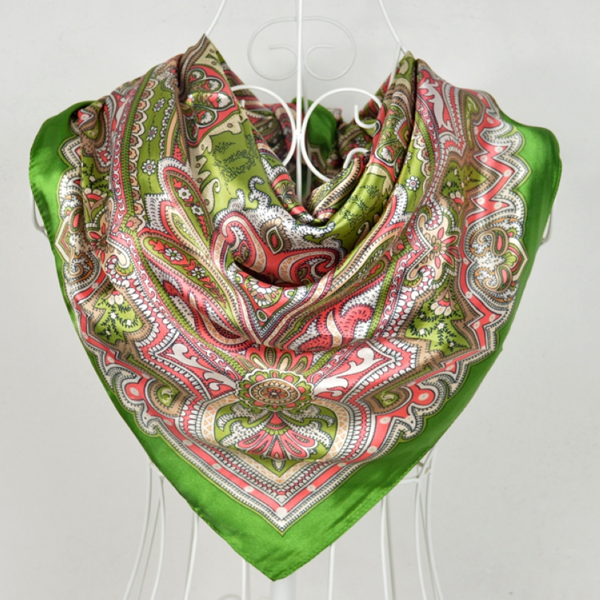 Free Shipping! 2014 New Arrival Brand Design Satin Big Square Scarf Printed,Women Silk Scarf,China Style Handkerchief 90*90cm(China (Mainland))