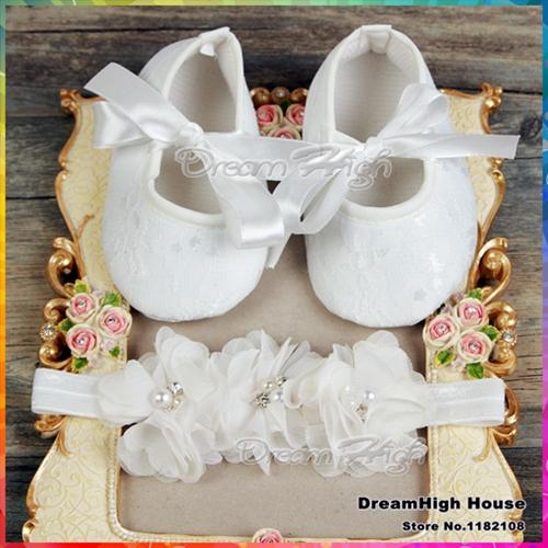 Baby Girl satin lace toddler shoe Christening Baptism infant shoes Headband set,Cute Flower sapatinhos de bebe menina #4S1931(China (Mainland))