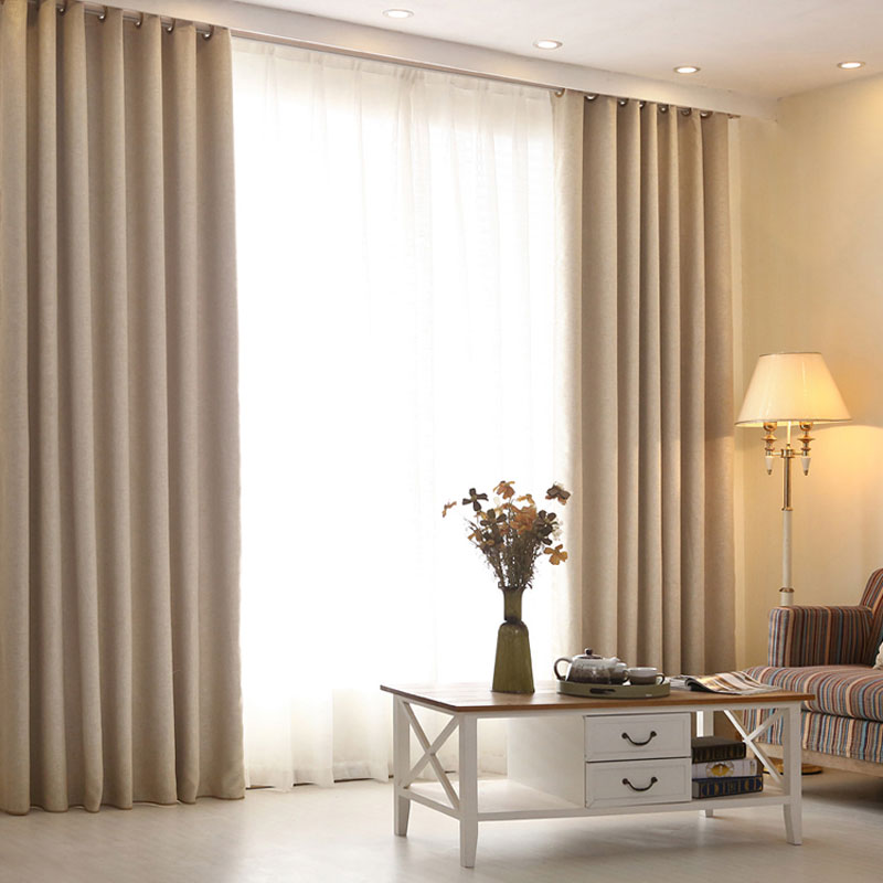 High Grade Modern Living Room Curtains Solid Color Linen Curtains Window Scre