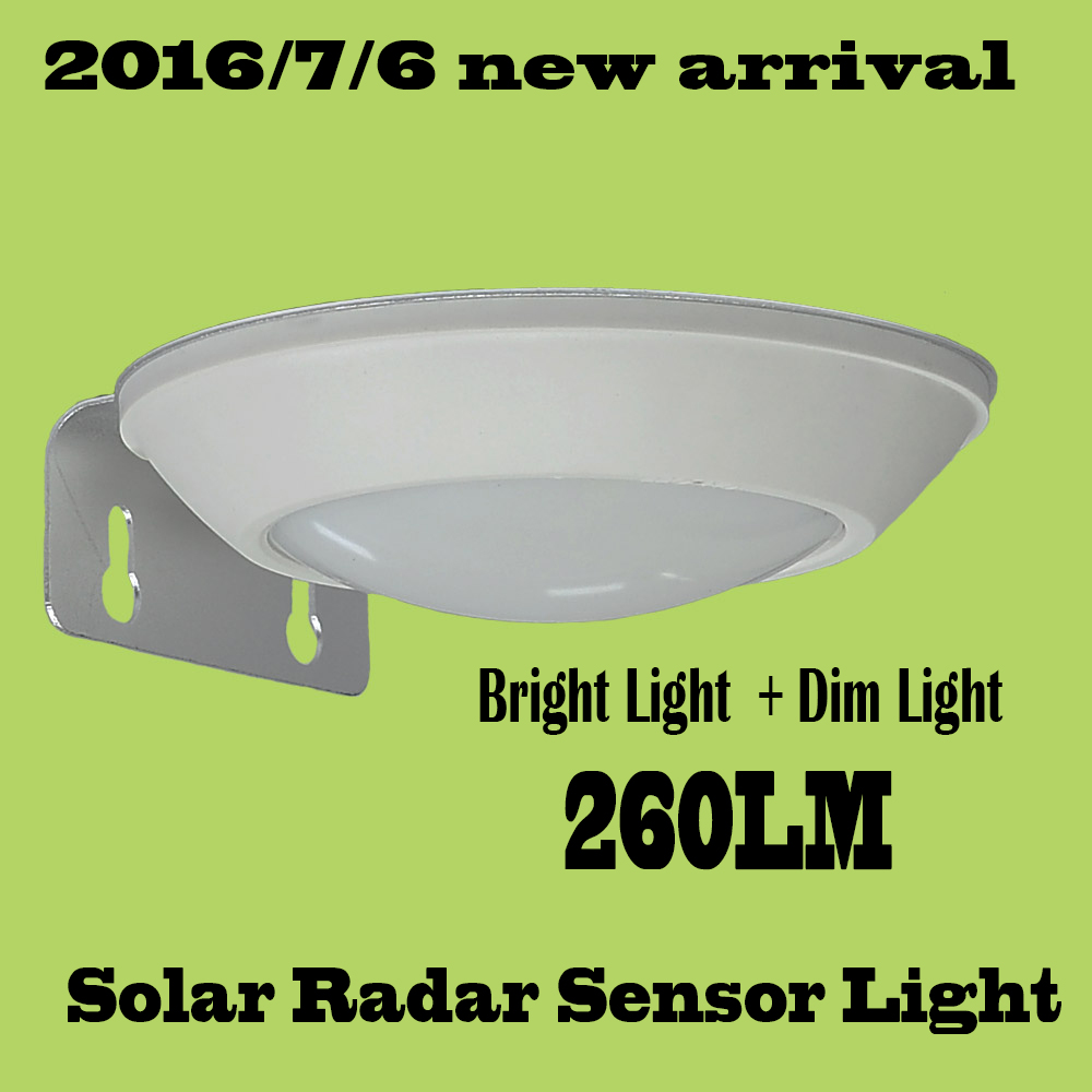 260LM Microwave Radar Motion Sensor LED Solar Light Waterproof 16LEDs Street Lamp Outdoor Path Wall Lamp Security Spot Lighting(China (Mainland))