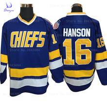 2017 Dwayne Mens Cheap Ice Hockey Jersey Vintage Jack Hanson 16 Charlestown Chiefs Hockey Jerseys Stitched Vintage Ice Wear Blue(China (Mainland))