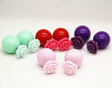 Free Shipping Fashion Hot Selling Earrings Flowers Double Side Shining Pearl Studs Earrings For Wom(China (Mainland))