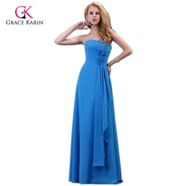 Grace Karin Strapless Chiffon Long Blue Evening Dresses 2016 New Arrival elegant Flowers Women Formal Evening Gowns 3420
