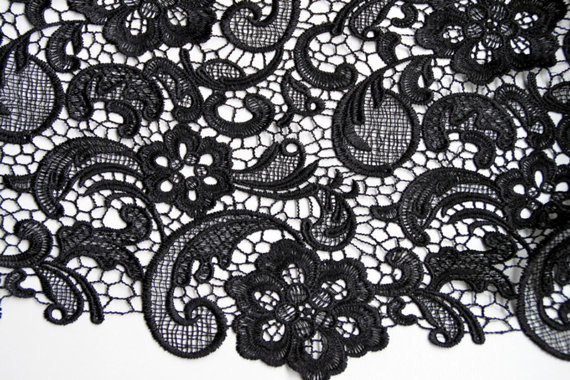 Black Lace Fabric, crocheted lace fabric, retro lace fabric, classical floral pattern lace fabric, bridal lace, MF074